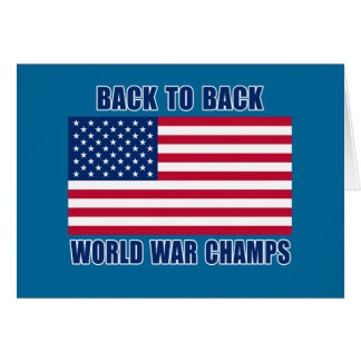 Undisputed World War Champions with American Flag Greeting Card