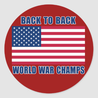 Undisputed World War Champions with American Flag Round Sticker