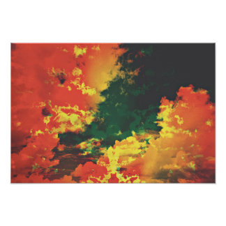 Unexpected clouds in red yellow green colors poster