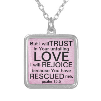 Unfailing Love bible verse Psalm 13:5 Silver Plated Necklace