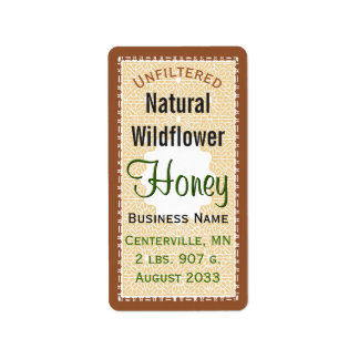Unfiltered Natural WIldflower Honey Jar Address Label