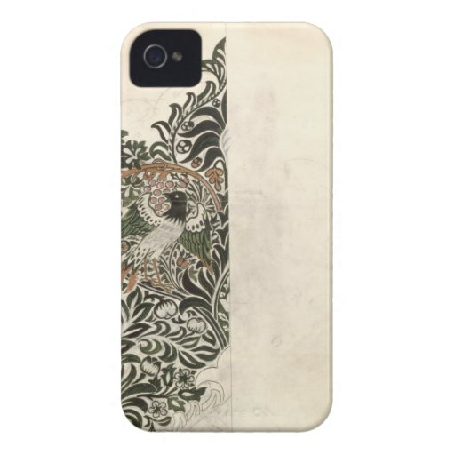 Unfinished 'Bird and Vine' wood block design for w Case-Mate Blackberry Case