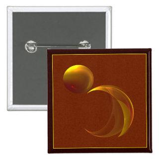 Unfurling Sun Abstract Fractal Art Pinback Button