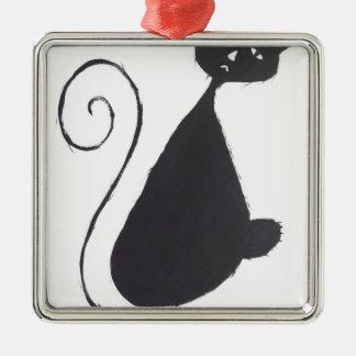 Unhappy Cat Silver-Colored Square Decoration