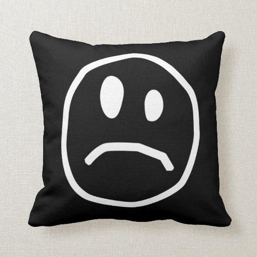 Unhappy face pillow
