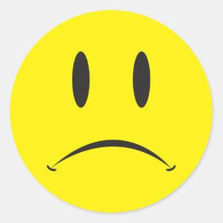 Unhappy Face Round Sticker