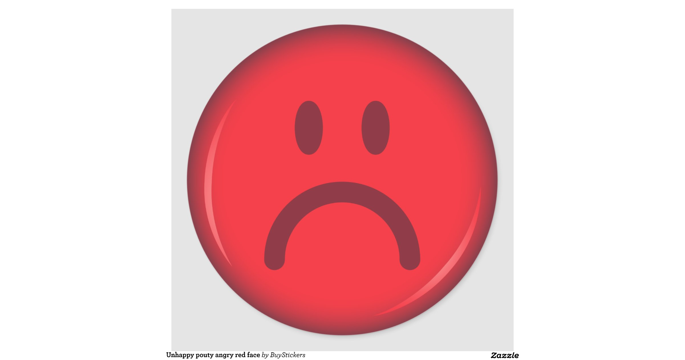 Unhappy pouty angry red smiley face round sticker | Zazzle