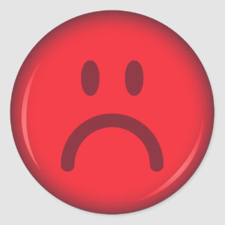 Unhappy pouty angry red smiley face round sticker