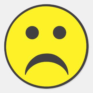 Unhappy Smiley Sadness Face Round Sticker