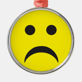 Unhappy Smiley Sadness Face Silver-Colored Round Decoration