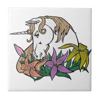 Unicorn 1 small square tile