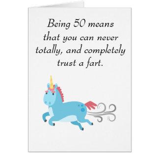 Unicorn 50th Birthday Trust a Fart Humor 50 Card