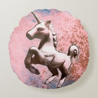 Unicorn Accent Pillow Round (Faded Sherbet)