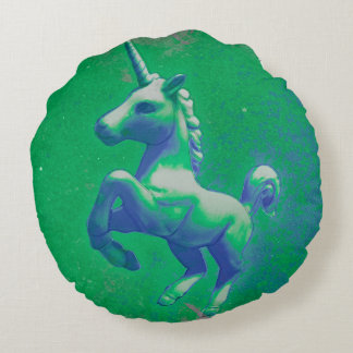 Unicorn Accent Pillow Round (Glowing Emerald)