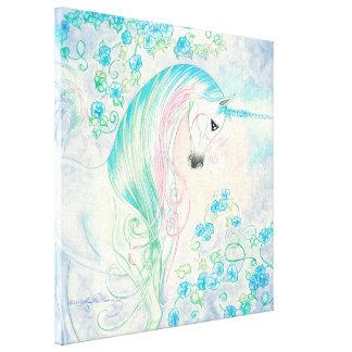 Unicorn Amongst Morning Glories Canvas Print