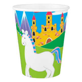 Unicorn and Castle Birthday Party Paper Cups