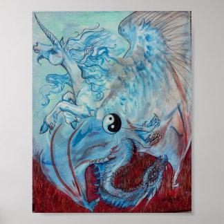 Unicorn and Dragon Yin Yang Poster