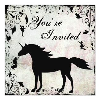 Unicorn and Fairies Magical Fairy Fantasy Birthday 13 Cm X 13 Cm Square Invitation Card