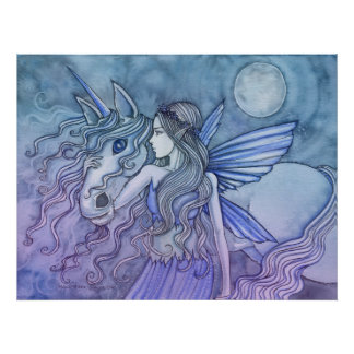 Unicorn and Fairy Poster by Molly Harrison