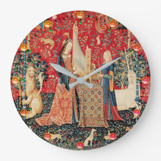 UNICORN AND LADY PLAYING ORGAN,ANIMALS Red Green Large Clock