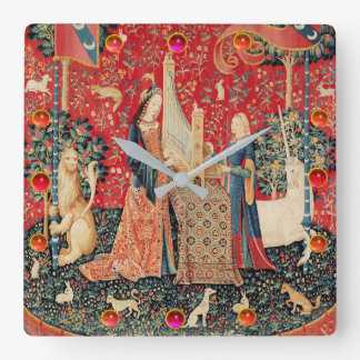 UNICORN AND LADY PLAYING ORGAN,ANIMALS Red Green Square Wall Clock