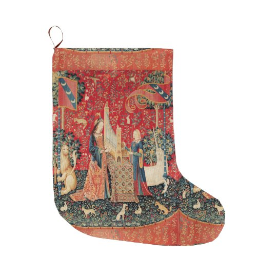UNICORN AND LADY PLAYING ORGAN Red Green Floral Large Christmas Stocking