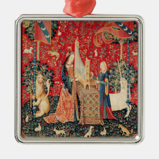 UNICORN AND LADY PLAYING ORGAN Red Green Floral Metal Ornament