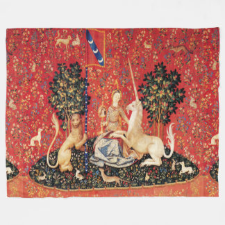 UNICORN AND MEDIEVAL FANTASY FLOWERS,FLORAL MOTIFS FLEECE BLANKET