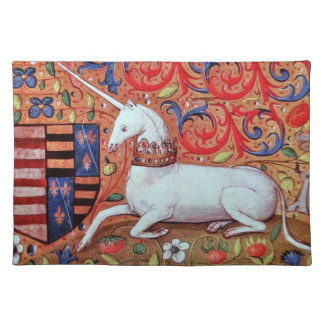UNICORN AND MEDIEVAL FANTASY FLOWERS,FLORAL MOTIFS PLACEMAT
