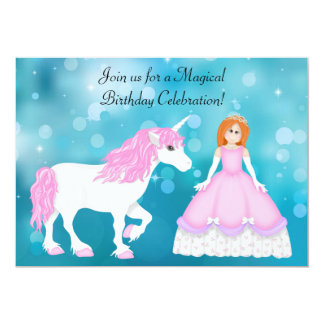 Unicorn and Princess with Red Hair Birthday Card