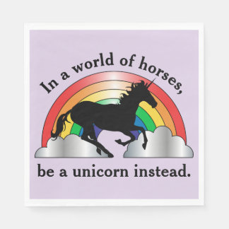 Unicorn and Rainbow Be A Unicorn Birthday Paper Napkin