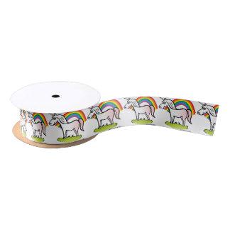 Unicorn and Rainbow - unicorn and rainbow Satin Ribbon