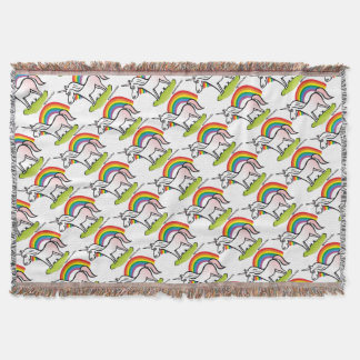 Unicorn and Rainbow - unicorn and rainbow Throw Blanket