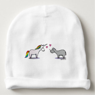 Unicorn and rhinoceros fall in love baby beanie