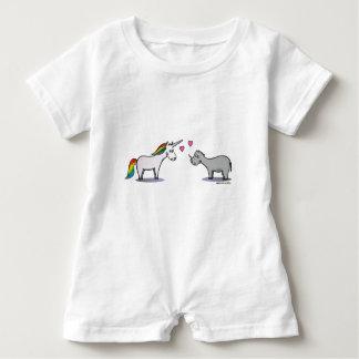 Unicorn and rhinoceros fall in love baby bodysuit