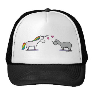 Unicorn and rhinoceros fall in love cap