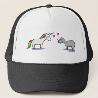 Unicorn and rhinoceros fall in love trucker hat