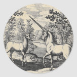 Unicorn and Stag Round Stickers