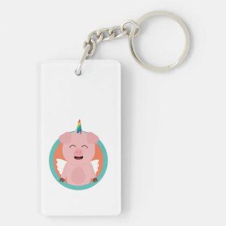 Unicorn Angel Pig in circle Zbibi Key Ring