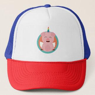 Unicorn Angel Pig in circle Zbibi Trucker Hat