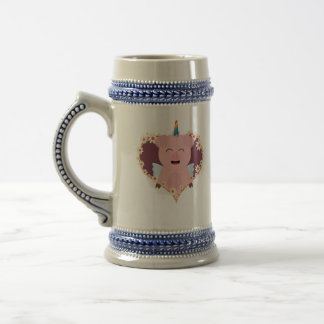 Unicorn angel pig in flower heart Zzvrv Beer Stein