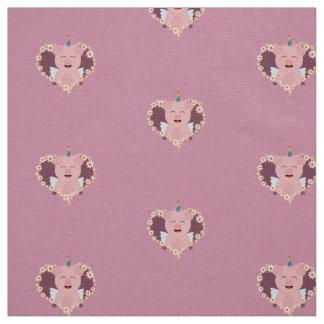 Unicorn angel pig in flower heart Zzvrv Fabric