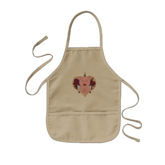 Unicorn angel pig in flower heart Zzvrv Kids Apron