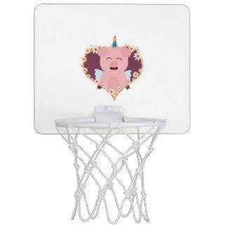 Unicorn angel pig in flower heart Zzvrv Mini Basketball Hoop