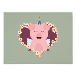 Unicorn angel pig in flower heart Zzvrv Photo Print