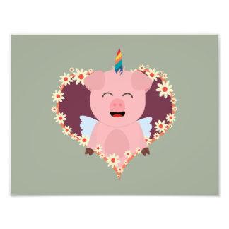 Unicorn angel pig in flower heart Zzvrv Photograph
