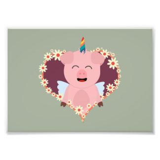 Unicorn angel pig in flower heart Zzvrv Photographic Print