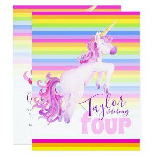 Unicorn Art Rainbow 4th Birthday Invitations