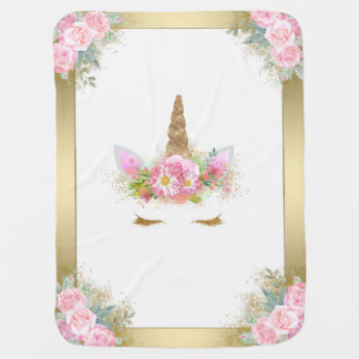 Unicorn Baby Blanket Pink Gold
