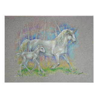 Unicorn & Baby - Fantasy Realm Creations Poster